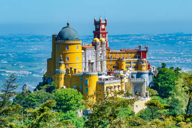 Extravagant Pena Palace in Sintra, Portugal stock photo