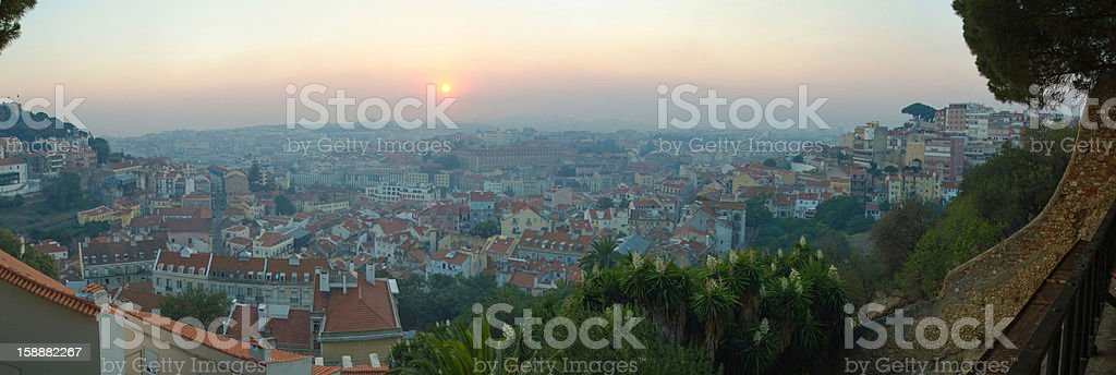 Extra-wide panoramic shot of Lisbon royalty-free stock photo