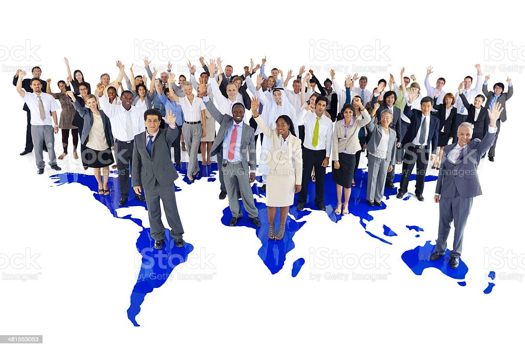 Extreemely diverse group of International Business People Celebrating royalty-free stock photo
