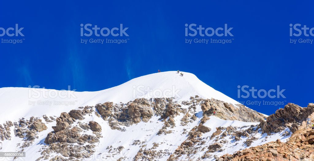 Extrem Ice climbing on Moench mountain - View of the mountain Moench in the Bernese Alps in Switzerland stock photo