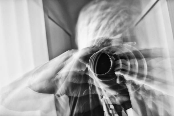 Extreme Abstraction: Photographer's Self Portrait in Black and White stock photo
