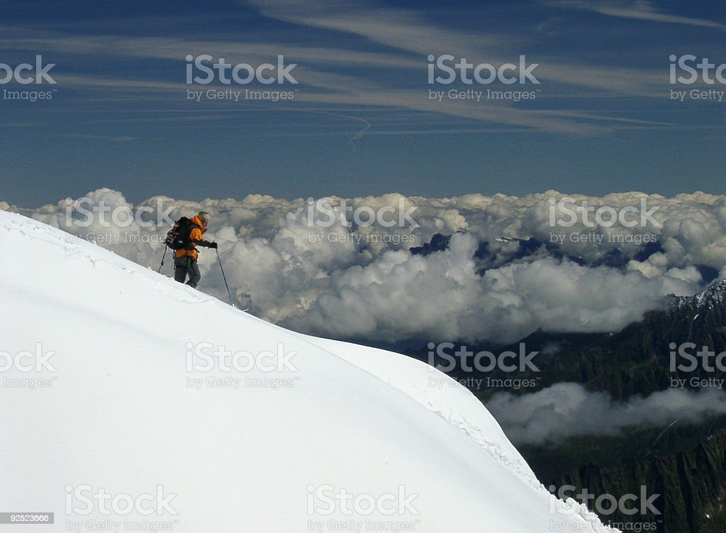 extreme adventure person snow glacier hiking in Alps royalty-free stock photo