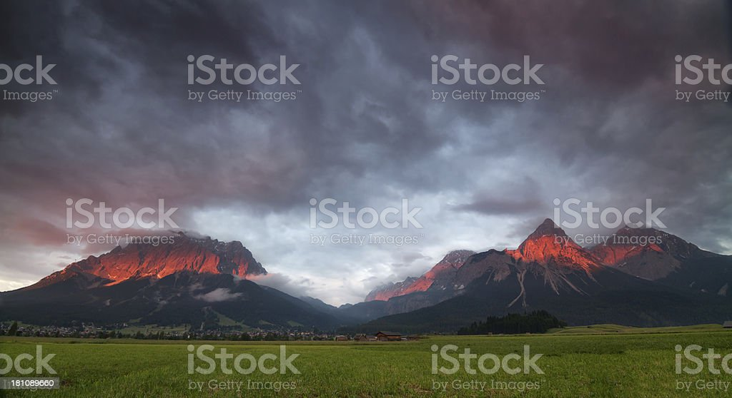 extreme afterglow panorama - Tirol, Europe royalty-free stock photo