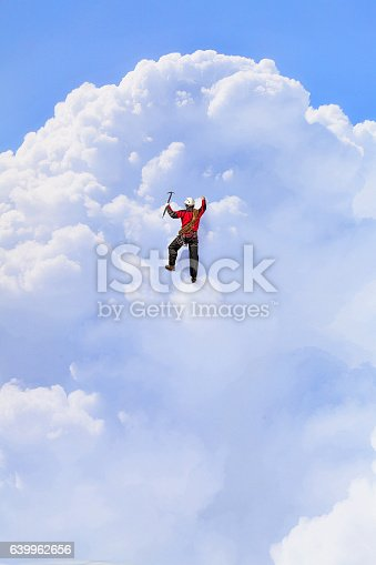 istock Extreme climbing is his adrenaline . Mixed media 639962656