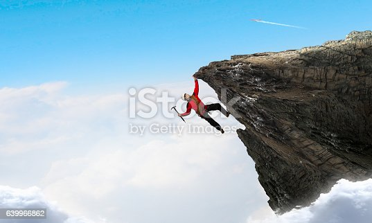 istock Extreme climbing is his adrenaline . Mixed media 639966862