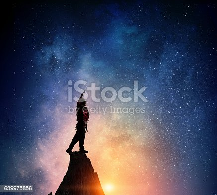 istock Extreme climbing is his adrenaline . Mixed media 639975856