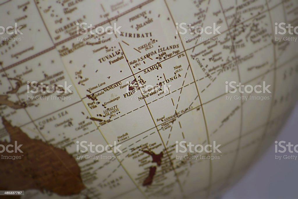 Extreme Close up of Fiji on a globe stock photo
