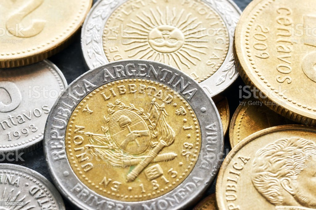 Extreme close up picture of Argentine peso. stock photo
