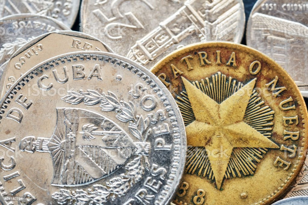 Extreme close up picture of Cuban peso. stock photo