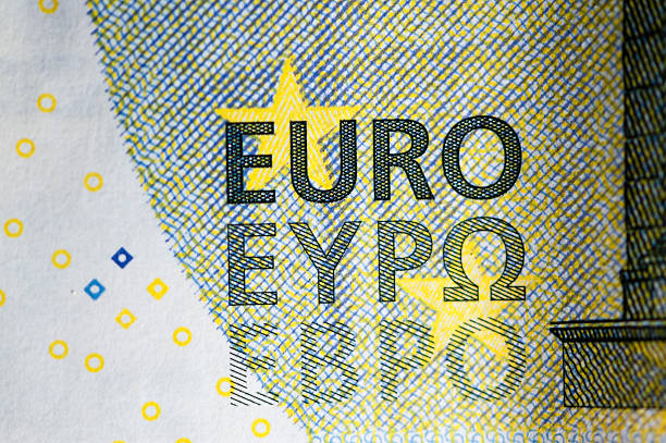 extreme closeup of 5 european euro note - watermark stock photos and pictures