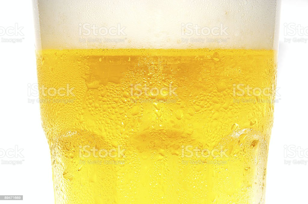extreme closeup of cold beer royalty-free stock photo