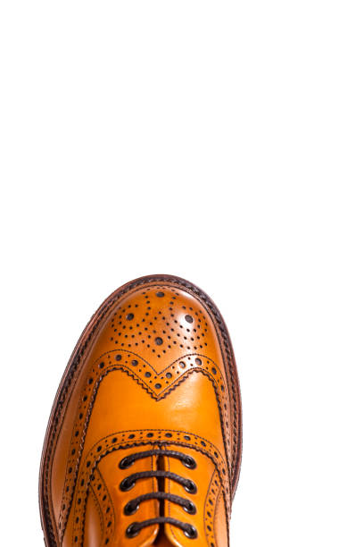 Extreme Closeup of Medalion of One Separate Male Tan Brogue Oxford Shoe. Isolated Over White Background. Vertical Shot