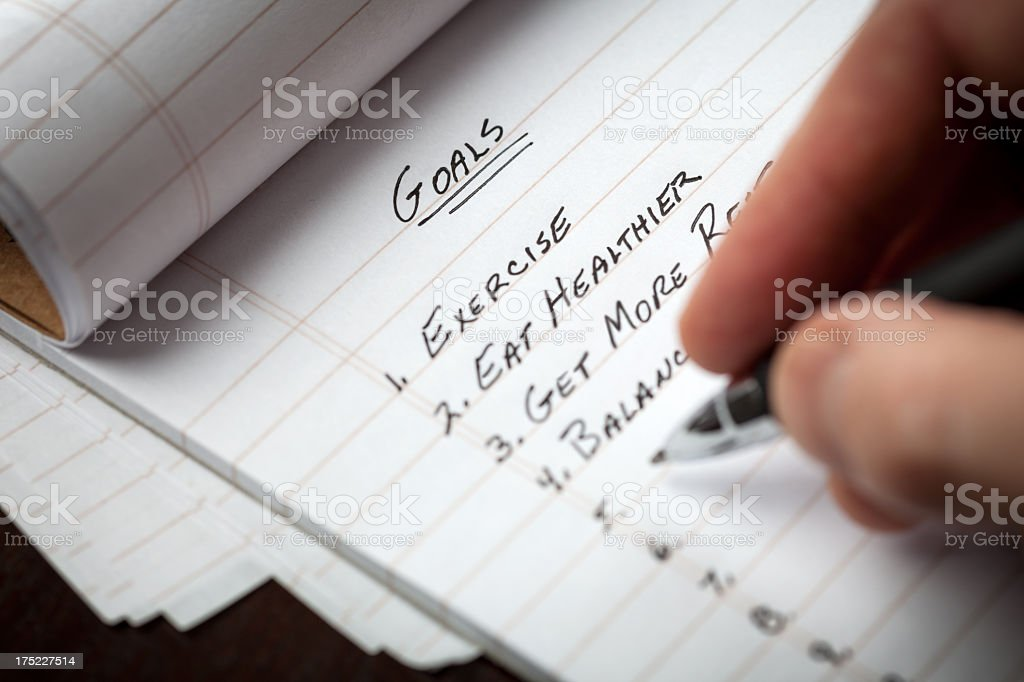 Extreme Closeup Of Notepad Making A List of Goals stock photo