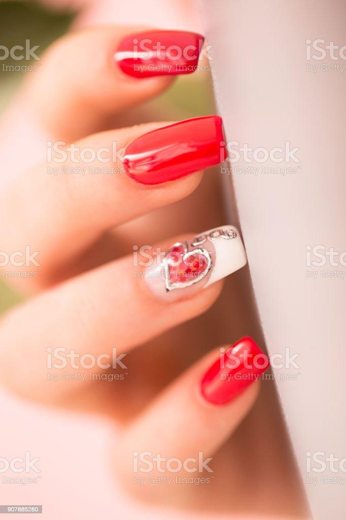 Extreme Close-up of Polished Nails.