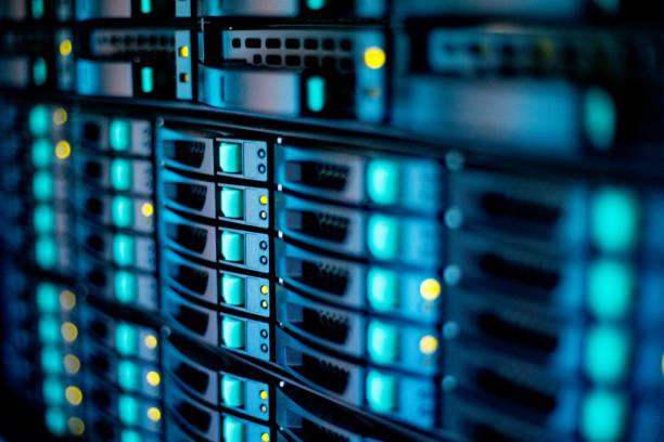 extreme close-up van supercomputer - datacenter stockfoto's en -beelden