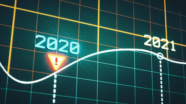 Extreme close-up on a pixelated year 2020 and 2021 line graph with a glowing warning icon stock photo