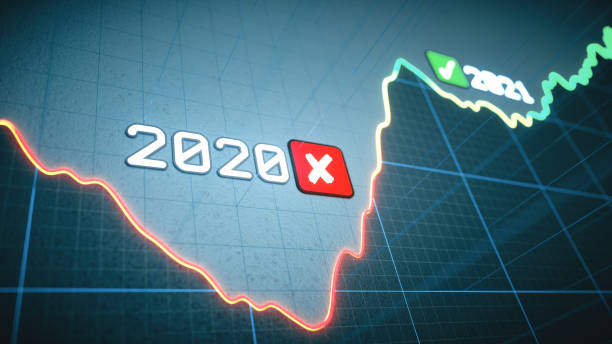 Extreme close-up on an abstract graph design with the years 2020 and 2021, with icons showing negative impact on economy and positive future forecasting stock photo