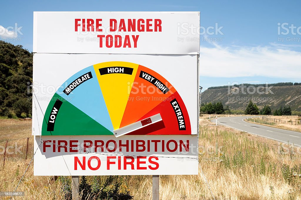 Extreme Fire Danger Warning Sign stock photo