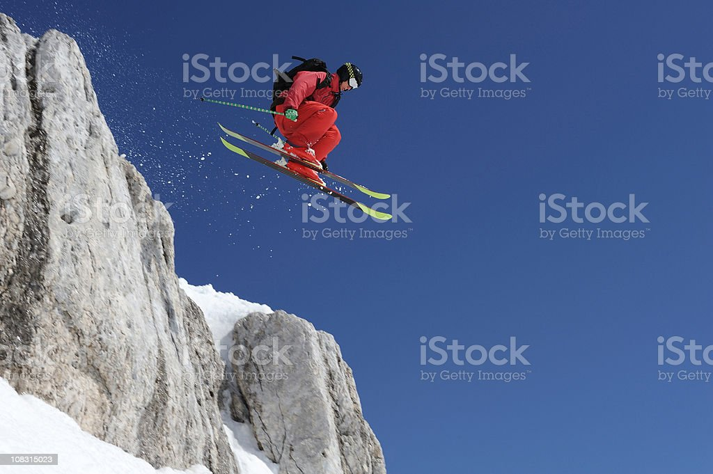 Extreme free ride skier in the action stock photo