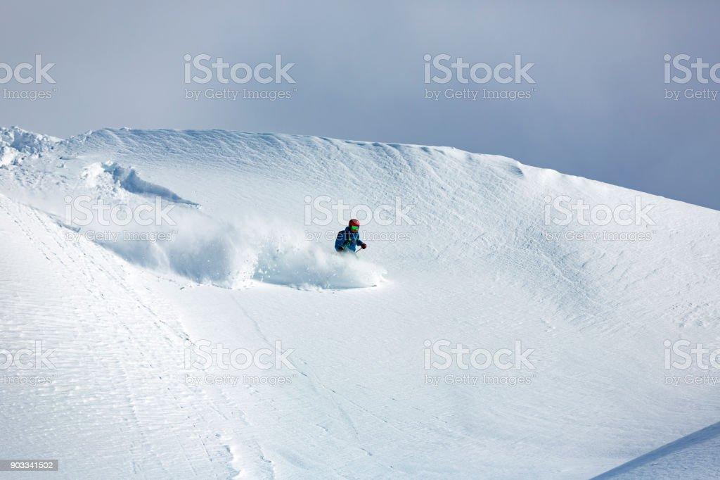 Extreme freeride skiing in Sella Nevea, Italy stock photo