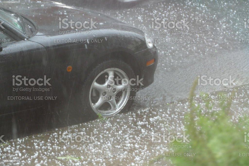 Extreme hailstorm stock photo