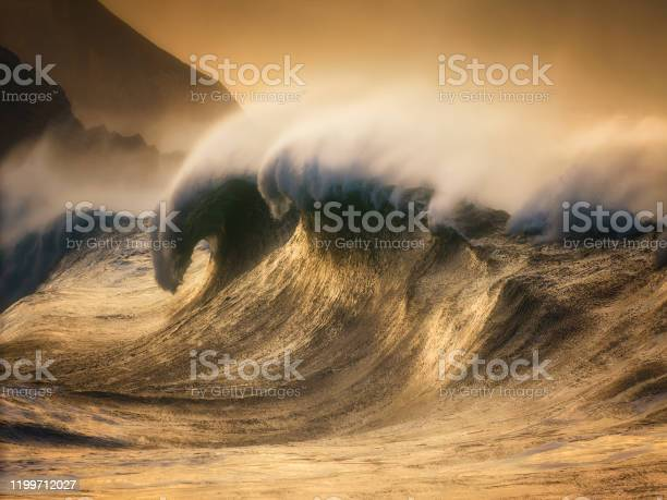 Photo of extreme huge wave breaking on the coast