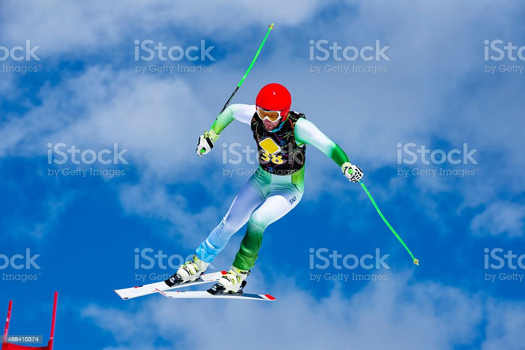 Extreme jump at downhill race stock photo