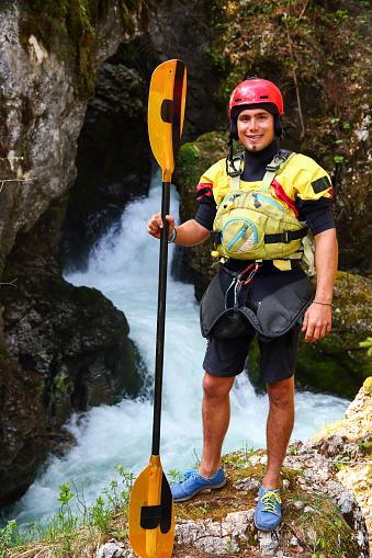 Extreme kayaker portrait