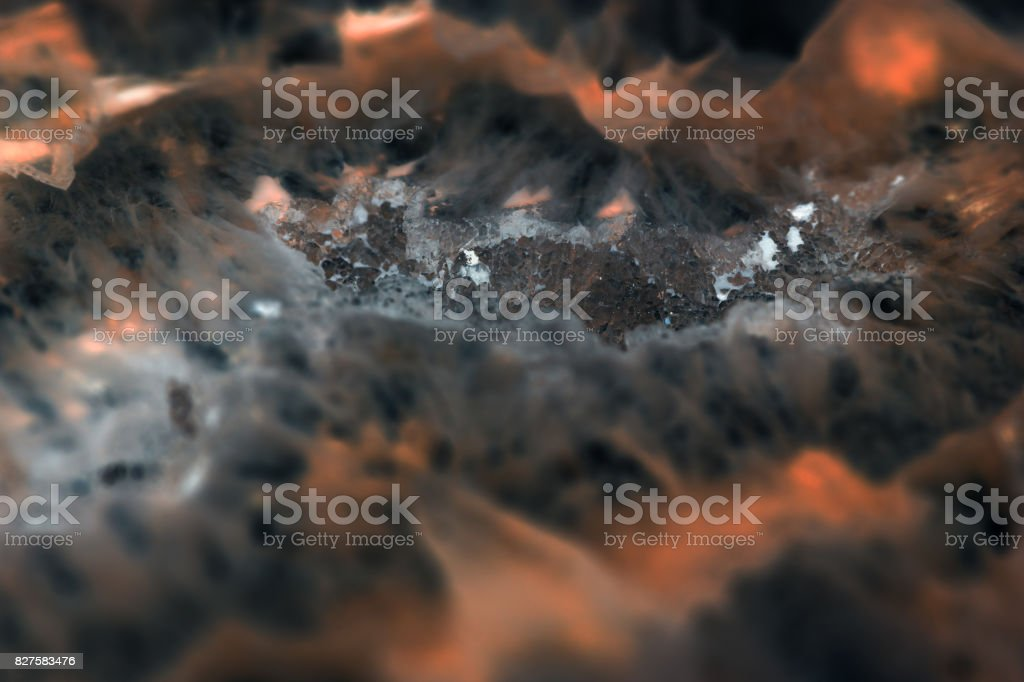 Extreme macro of dark agate slice mineral, abstract background royalty-free stock photo