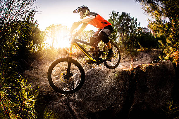 Extreme mountain biker riding over rough terrain stock photo