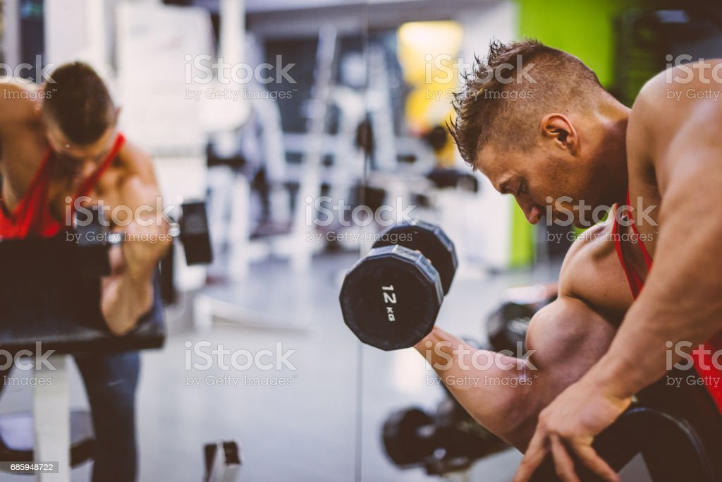 Extreme muscles, mass and definition stock photo