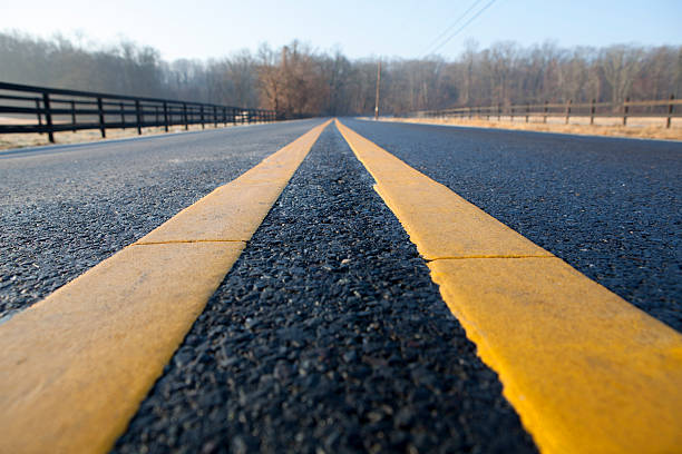 Extreme Perspective Middle of the Asphalt Road with Center Lines stock photo