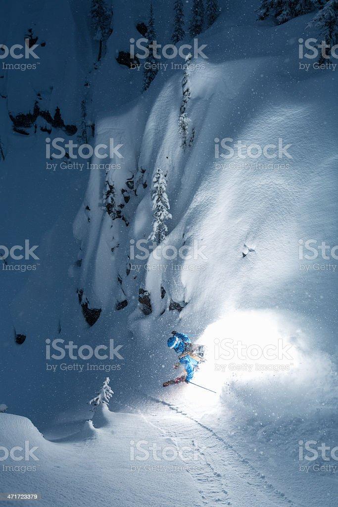 extreme powder skiing stock photo