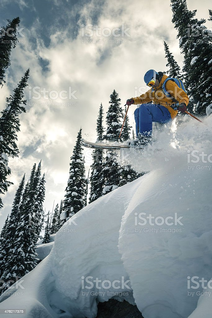 extreme powder skiing royalty-free stock photo