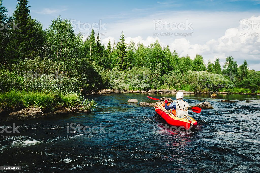 Extreme rafting stock photo