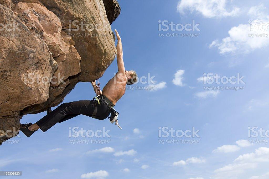 Rock climber Norbert Frank climbing at the Windstein - Vosges -...