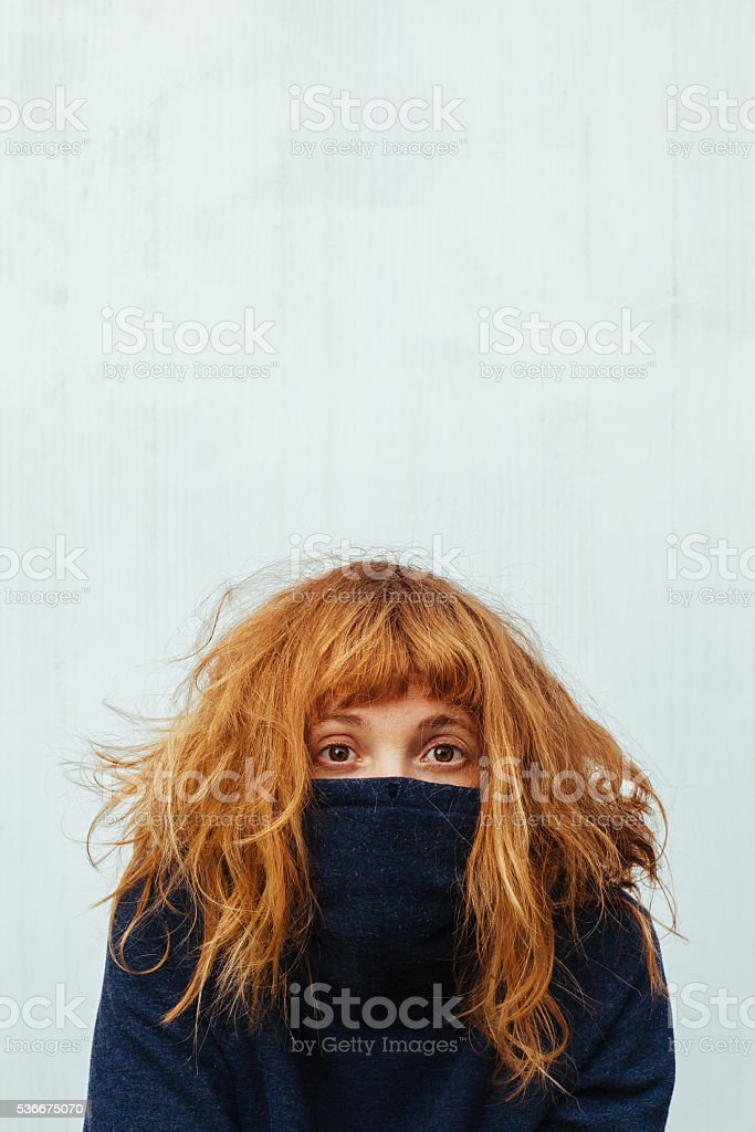 Extreme shyness stock photo