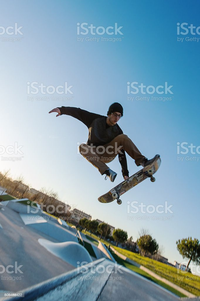 Extreme skateboarder stock photo