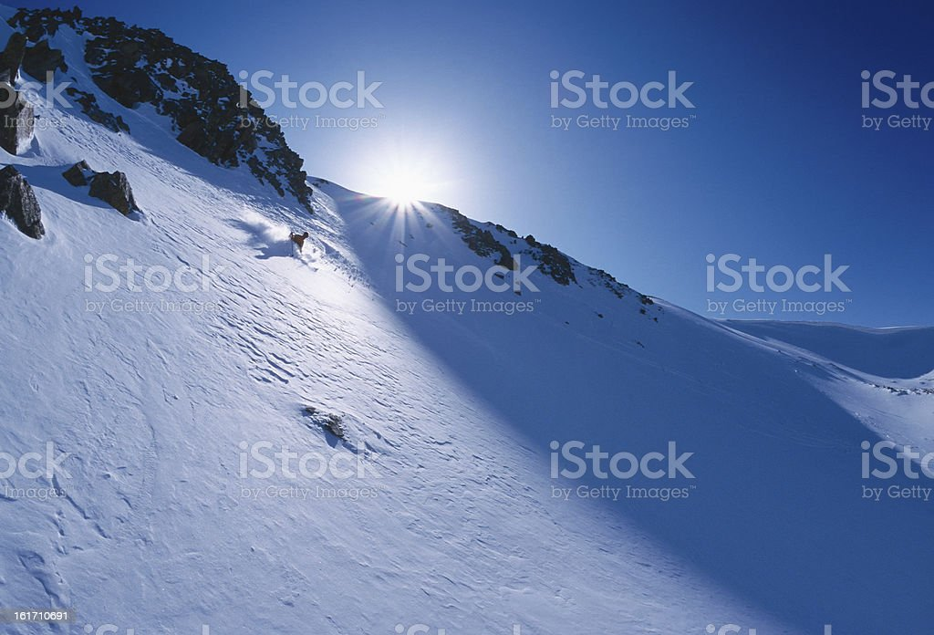 Extreme Skier in Backcountry royalty-free stock photo