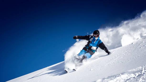 extreme skier in powder snow stock photo