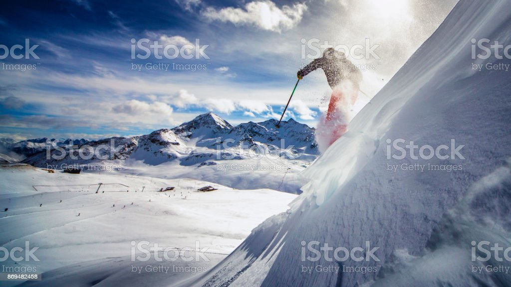 extreme skier in powder snow stock photo