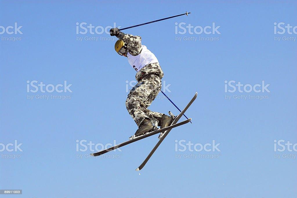 Extreme skiing flight on big-air royalty-free stock photo
