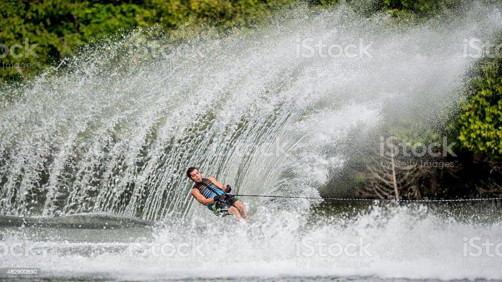 Extreme Slalom Ski Spray stock photo
