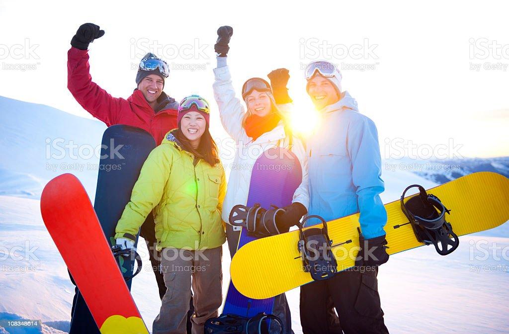Extreme Snowboarders enjoying Winter royalty-free stock photo