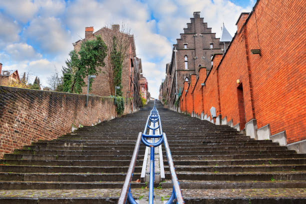 Extreme staircase Liege Beautiful cityscape of the 374-step long staircase Montagne de Bueren, a popular landmark and tourist attraction in Liege, Belgium lulik stock pictures, royalty-free photos & images