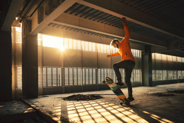 Extreme street sport and riding on a skateboard stock photo
