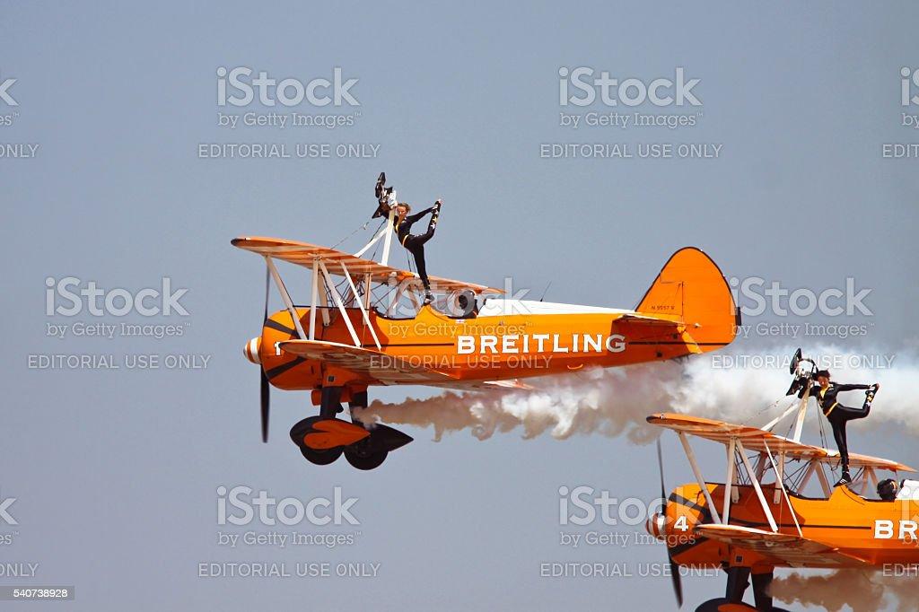 Extreme Stunt at Aero India 2015 stock photo