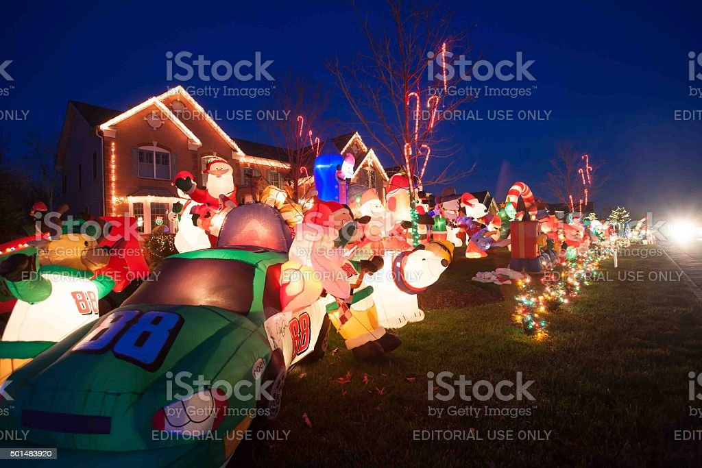 Extreme Suburban Outdoor Christmas Decoration Stock Photo