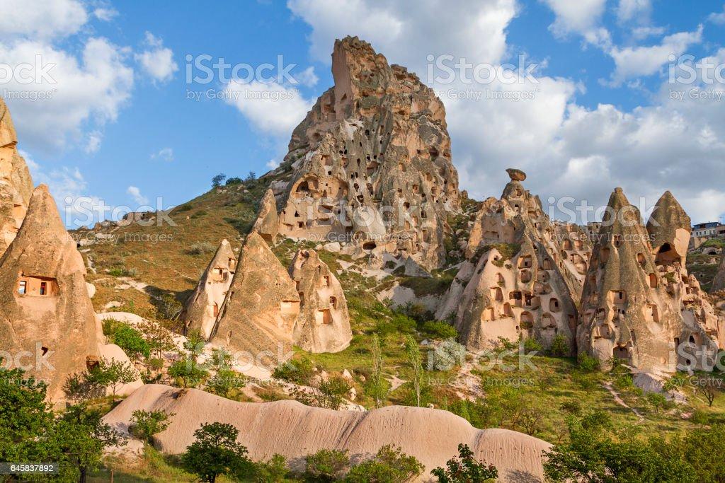 Extreme terrain and landscape of Cappadocia stock photo