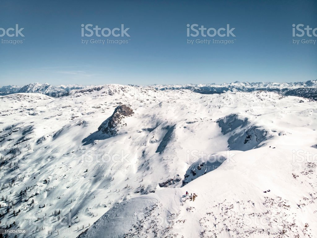 Beautiful European Alps in winter time, aerial, drone footage, view...
